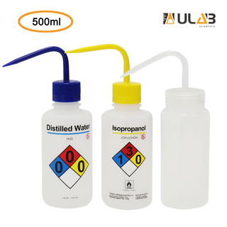 ULAB Scientific Wash Bottle Set, 1 of Each for Self-Venting Safety Wash Bottles of Distilled Water and ISOPROPANOL, LDPE Material, 1pc of General Wide-Mouth wash Bottle, LDPE Material, Vol.500ml