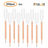 ULAB Scientific Transfer Pipette, Essential Oils Pipettes Vol. 5ml, 1ml Graduated, 0.25ml Graduation Interval, 145mm Long, Low-Density Polyethylene Material, Pack of 200, UTP1004