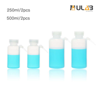 ULAB Scientific Wide Mouth Unitary Wash Bottle, 250ml 500ml 2pcs for Each Size, LDPE Bottle with PP Draw Tube, UWB1009