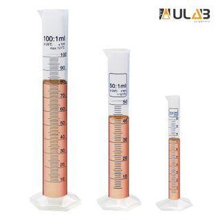 ULAB Scientific Plastic Measuring Cylinder Set, 3 Sizes 10ml 50ml 100ml, PP Material Hexagonal Base, Blue Printed Graduation, UMC1003