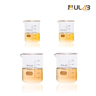 ULAB Scientific Glass Beaker 8.5 oz 17 oz, 2pcs of 250ml and 2pcs of 500ml, 3.3 Borosilicate Griffin Low Form with Printed Graduation, UBG1009