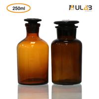 ULAB Scientific Reagent Bottle Set, 1pc of Wide Mouth Bottle, 1pc of Narrow Mouth Bottle, with Ground-in Glass Frosted Stopper, Amber Glass, Vol. 250ml, URB1011