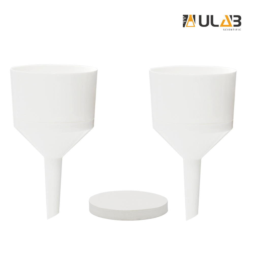 ULAB Scientific Buchner Two-Piece Funnel Set, 2pcs of Buchner Funnel, Dia.75mm,1 Box of Qualitative Filter Paper, Dia.70mm, Medium Speed, UGF1006
