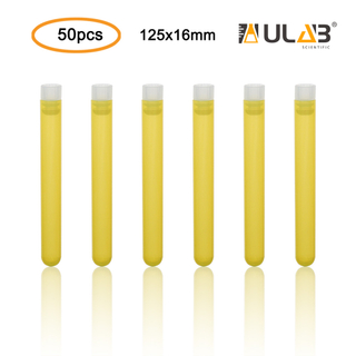 ULAB Plastic Test Tubes with Flange Stoppers, 50pcs of Dia.16x125mm Party Tubes, Yellow Color, 50pcs PE Flange Stoppers, Dia.16mm, Nature Color, UTT1020