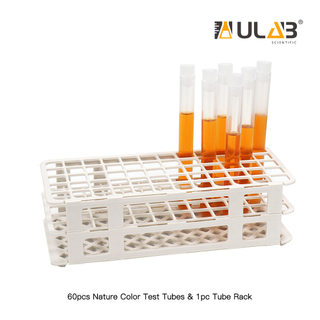 ULAB Scientific White Tube Rack and Plastic Test Tubes Set, Include 1pc of White Tube Rack, 60pcs of Plastic Party Test Tubes, Nature Color, UTR1015